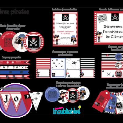 Décoration d'anniversaire à imprimer thème pirates : invitations, banderole d'anniversaire, décorations pour le gâteau…