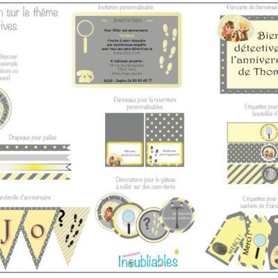 Décoration à imprimer anniversaire détectives invitations, banderole d'anniversaire, décorations pour le gâteau...