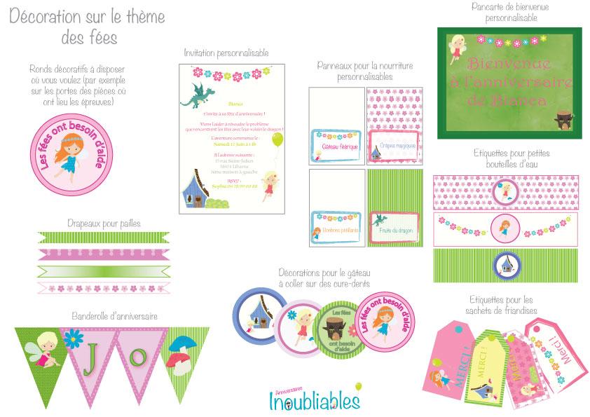 Décoration à imprimer thème des fées : invitations, banderole d'anniversaire, décorations pour le gâteau...