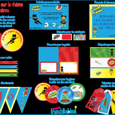 Décoration à imprimer thème des super-héros : invitations, banderole d'anniversaire, décorations pour le gâteau…