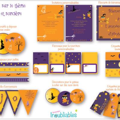 Décoration d'anniversaire à imprimer thème Halloween fantômes et sorcières : invitations, banderole d'anniversaire, décorations pour le gâteau…