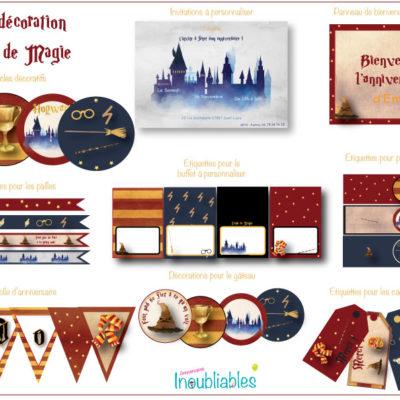 Décoration d'anniversaire à imprimer thème école de magie sorciers : invitations, banderole d'anniversaire, décorations pour le gâteau…